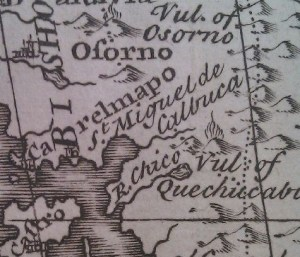 Osorno map view from 1747