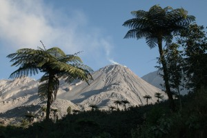 View of the Caliente dome, Santiaguito volcano, Guatemala
