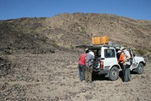 Fieldwork near Badi volcano, Afar