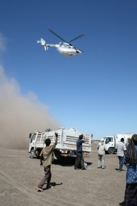 Access to remote parts of the field required helicopter support