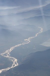 The river Cachapoal runs out of the Andes mountains, past the city of Rancagua