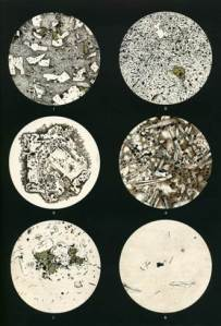 Drawings of views of Krakatoa rock samples in thin section, under a microscope.  This set of images are of lavas from Krakatoa. These are quite rich in crystals (white feldspar; green pyroxene), set in a fine matrix of glass (colourless to brown).  Images on the left: about 1 cm across; on the right – about 1 mm across.