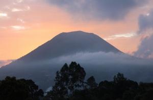 Sunset behind Mt Lokon, Sulawesi, Indonesia
