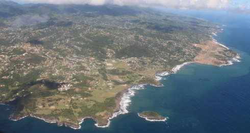 aerial view south eastern corner and windward side of St Vincent