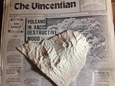 A 3D printer model of the Soufriere of St Vincent, an active volcano in the southern Caribbean.