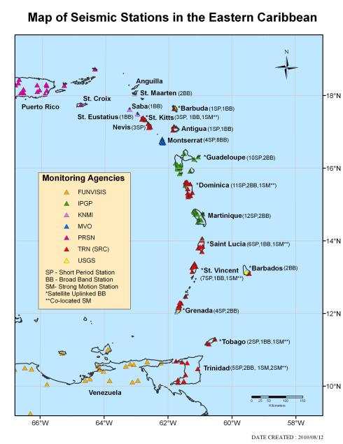 Map of the Eastern Caribbean, showing the locations of seismic stations used in earthquake and volcano monitoring. Source: Seismic Research Centre, University of the West Indies