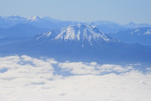 Volcan Calbuco (foreground), viewed on approach to Puerto Montt airport
