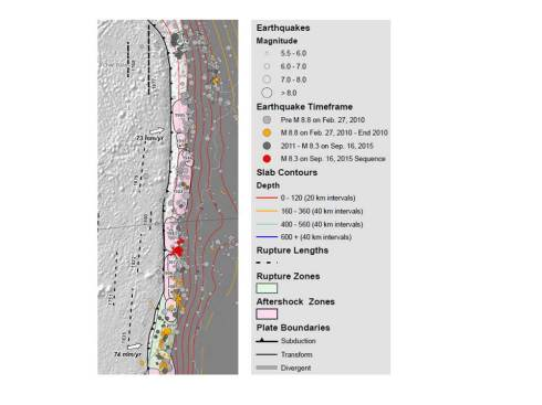 Map of historical rupture zones of large Chilean earthquakes. Source: United States Geological Survey.